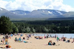 Loch Morlich beach in highland cairgorms