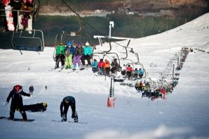 Skiing on Aonach Mor